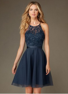 A-Line/Princess Scoop Neck Knee-Length Tulle Bridesmaid Dress  ...