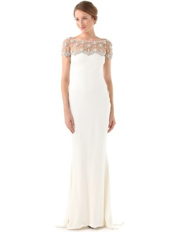 Sheath/Column Off-the-Shoulder Sweep Train Jersey Wedding Dress With Beading