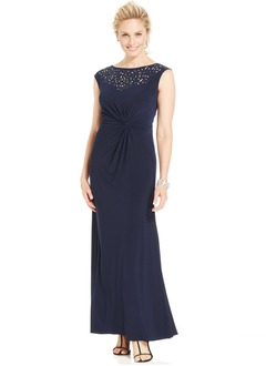 Sheath/Column Scoop Neck Floor-Length Jersey Mother of the Bride Dress With Ruffle Beading