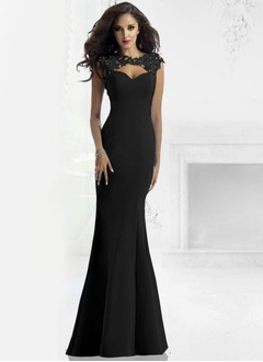 Trumpet/Mermaid Sweetheart Scoop Neck Floor-Length Satin Evening Dress With Lace