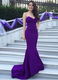 Trumpet/Mermaid Strapless Sweetheart Sweep Train Charmeuse Satin Chiffon Evening Dress