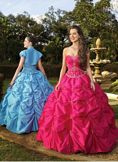 Ball-Gown Strapless Sweetheart Floor-Length Taffeta Quinceanera Dress With Ruffle Lace Beading