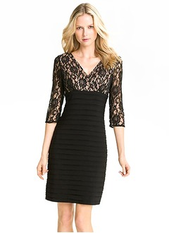 Sheath/Column V-neck Short/Mini Lace Jersey Cocktail Dress With Pleated