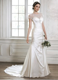 A-Line/Princess Scoop Neck Court Train Tulle Charmeuse Wedding Dress With Ruffle Beading Crystal Brooch