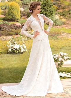 A-Line/Princess V-neck Sweep Train Lace Wedding Dress