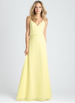 A-Line/Princess V-neck Floor-Length Chiffon Lace Bridesmaid Dress With Lace