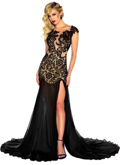 Sheath/Column Scoop Neck Court Train Chiffon Lace Evening Dress With Split Front