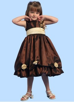 A-Line/Princess Scoop Neck Tea-Length Taffeta Flower Girl Dress With Lace Sash