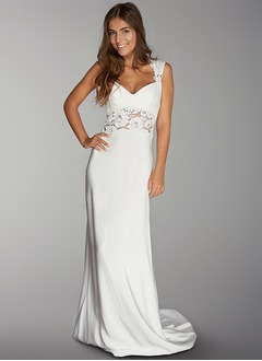 Sheath/Column Sweetheart Court Train Charmeuse Wedding Dress With Lace
