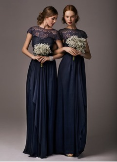 Sheath/Column Scoop Neck Floor-Length Chiffon Lace Bridesmaid Dress With Ruffle Bow(s)