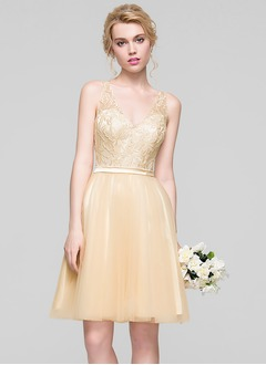 A-Line/Princess V-neck Knee-Length Tulle Charmeuse Lace Bridesmaid Dress With Lace