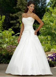 Ball-Gown Strapless Sweetheart Court Train Taffeta Wedding Dress With Ruffle Beading