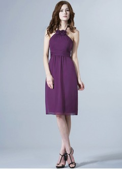 Sheath/Column Halter Knee-Length Chiffon Bridesmaid Dress With Ruffle Flower(s)