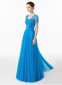 A-Line/Princess V-neck Square Neckline Floor-Length Tulle Lace Evening Dress With Lace Flower(s)