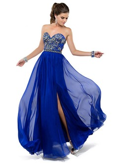 Empire Strapless Sweetheart Floor-Length Chiffon Prom Dress With Beading Split Front