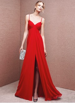 Empire V-neck Floor-Length Chiffon Evening Dress With Split Front