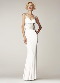 Sheath/Column Sweetheart Floor-Length Chiffon Charmeuse Evening Dress With Ruffle Sash
