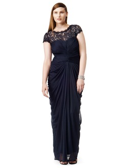 Sheath/Column Scoop Neck Floor-Length Chiffon Mother of the Bride Dress With Lace