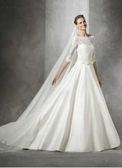 Ball-Gown Scoop Neck Chapel Train Satin Lace Wedding Dress With Appliques Lace Bow(s)