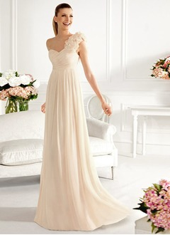 A-Line/Princess One-Shoulder Sweep Train Chiffon Bridesmaid  ...