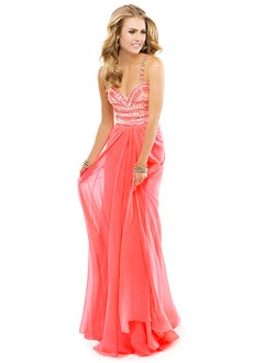 A-Line/Princess Sweetheart Sweep Train Chiffon Prom Dress With Beading (0185059526)