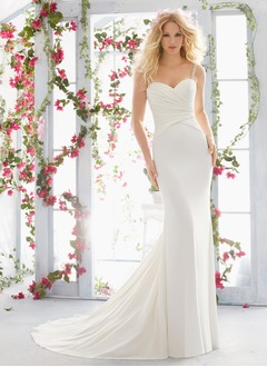 Sheath/Column Sweetheart Court Train Jersey Wedding Dress With Ruffle Beading