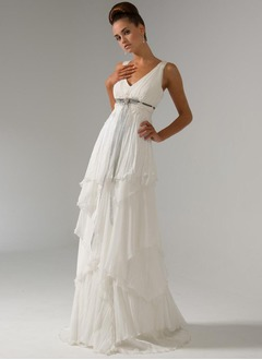 Empire V-neck Sweep Train Chiffon Wedding Dress With Beading Appliques Lace Bow(s) Cascading Ruffles