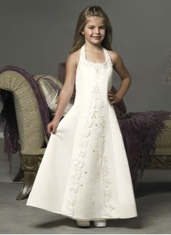 A-Line/Princess Halter Ankle-Length Satin Flower Girl Dress With Beading