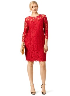 Sheath/Column Scoop Neck Knee-Length Lace Mother of the Bride Dress