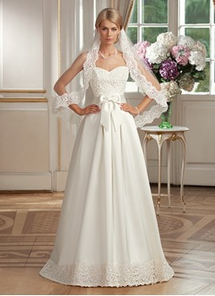 Ball-Gown Strapless Sweetheart Floor-Length Satin Wedding Dress With Lace Bow(s)