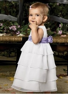 A-Line/Princess Scoop Neck Floor-Length Chiffon Satin Flower Girl Dress With Ruffle Sash