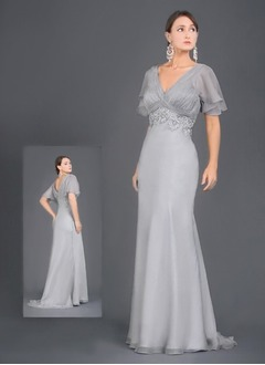 Trumpet/Mermaid V-neck Sweep Train Chiffon Mother of the Bride Dress With Ruffle Lace Beading