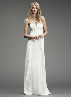 Sheath/Column Strapless Sweetheart Sweep Train Chiffon Wedding Dress With Ruffle