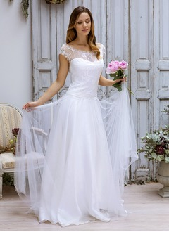 A-Line/Princess Scoop Neck Sweep Train Satin Tulle Wedding Dress