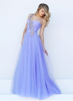 A-Line/Princess Sweetheart One-Shoulder Sweep Train Tulle  ...