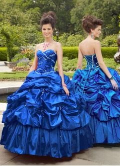 Ball-Gown Strapless Sweetheart Floor-Length Taffeta Quinceanera Dress With Ruffle Beading Flower(s)