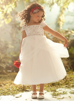 A-Line/Princess Off-the-Shoulder Ankle-Length Satin Tulle Flower Girl Dress With Embroidered Beading