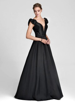Ball-Gown Off-the-Shoulder Floor-Length Satin Evening Dress With Ruffle