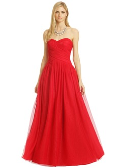 Ball-Gown Strapless Sweetheart Floor-Length Chiffon Tulle Prom Dress With Ruffle