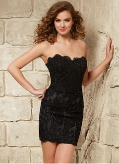 Sheath/Column Strapless Sweetheart Short/Mini Lace Cocktail Dress With Beading