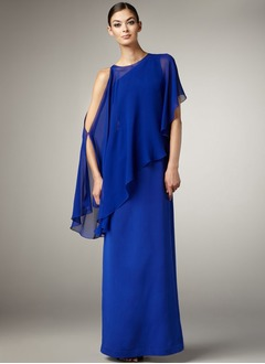 A-Line/Princess Scoop Neck Floor-Length Chiffon Satin Evening Dress