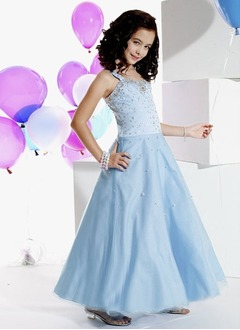 A-Line/Princess Sweetheart Floor-Length Satin Tulle Flower Girl Dress With Beading
