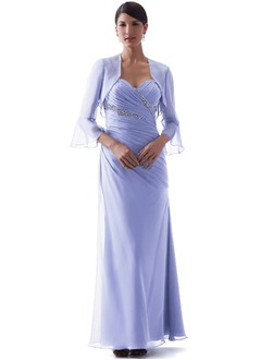 Sheath/Column Strapless Sweetheart Floor-Length Chiffon Mother of the Bride Dress With Ruffle Beading