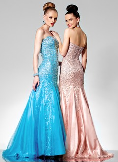 Trumpet/Mermaid Strapless Sweetheart Sweep Train Tulle Charmeuse Sequined Prom Dress With Beading