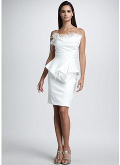 Sheath/Column Scalloped Neck Knee-Length Satin Cocktail Dress With Ruffle Feather