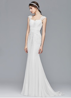 Trumpet/Mermaid Sweetheart Sweep Train Chiffon Lace Wedding Dress (0025104311)