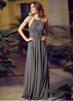 A-Line/Princess Scoop Neck Sweep Train Chiffon Prom Dress  ...