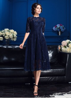 A-Line/Princess High Neck Tea-Length Lace Mother of the Bride Dress