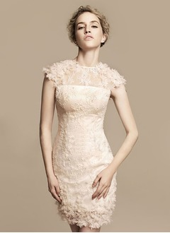 Sheath/Column Scoop Neck Knee-Length Tulle Charmeuse Lace Wedding Dress With Beading Flower(s)