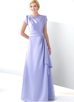 A-Line/Princess Scoop Neck Sweep Train Satin Mother of the Bride Dress With Cascading Ruffles